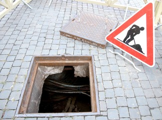 excavation and repair work and the signal of caution work in pro