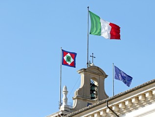 flags of Italy  on the Quirinal Hill