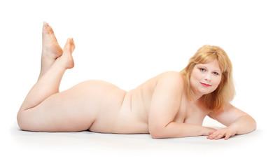 Overweight woman sunbathing.