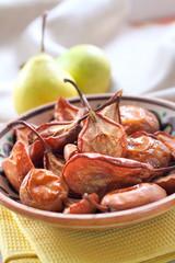 Baked pears on a folk style plate