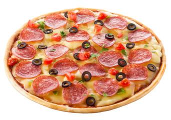 Delicious italian pizza over white