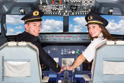 Leinwanddruck Bild Pilots in the Cockpit