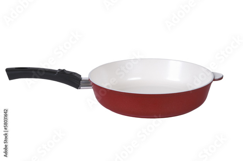 Red frying pan with a ceramic covering