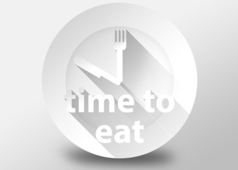 Time to eat 3d illustration flat design