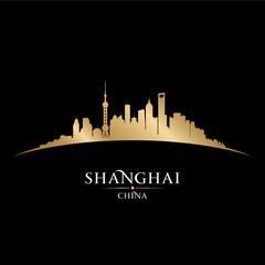 Shanghai China city skyline silhouette black background