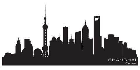 Shanghai China city skyline vector silhouette