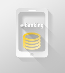 Smartphone or Tablet E-banking icon and widget