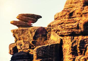 balanced rocks on ledge