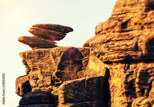 balanced rocks on ledge