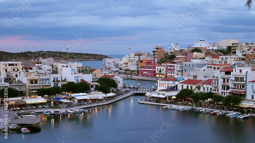 Evening Agios Nikolaos on Crete, Greece.