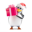 Santa Claus Penguis has a gift