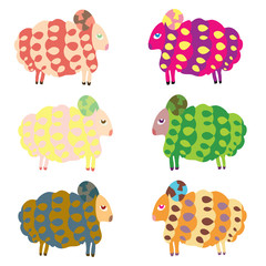 Cartoon vector sheep set