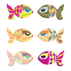 Cartoon vector fish set