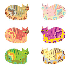 Cartoon vector cat set