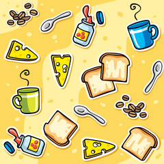 background with cartoon toasts, cheese, jam - seamless