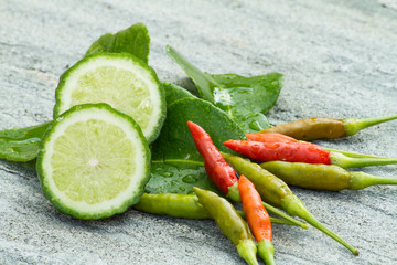 Ingredient thai herb for tomyam cuisine on stone