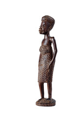 African Statue of Girl Over White at Three-Quarter