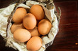 Eggs in old basket