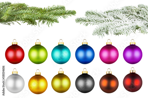 christmas balls and fir branch set