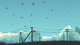Horizontal illustration of birds in sky and on power line.