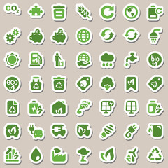 iconset ecology green & white, sticker