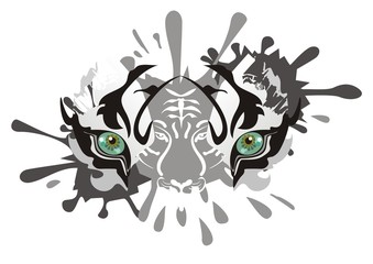 White tiger eyes splashes