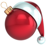 Christmas ball Happy New Year bauble Santa hat icon