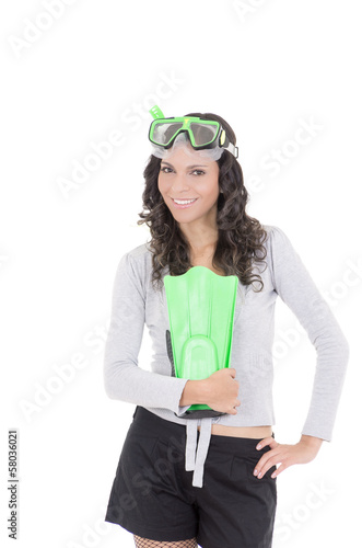 Funny woman in snorkeling gear, isolated studio shot