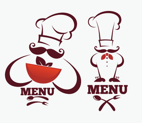 cooking symbols, food and chief silhouettes