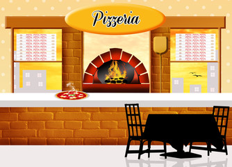 illustration of pizzeria