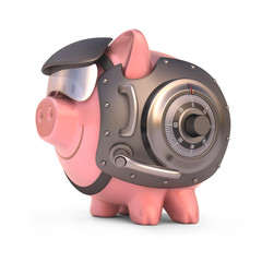 Piggy bank shield. Clipping path included.