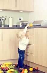 girl taking fruit
