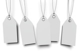 five white tags with shadow on white background