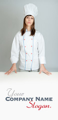 Serious young female chef