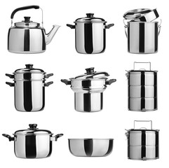Kitchenware. Group of stainless steel kitchenware