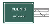 Road sign to clients