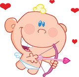 Cute Baby Cupid Flying With Bow And Arrow