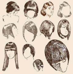 Frisuren Illustration Frauen