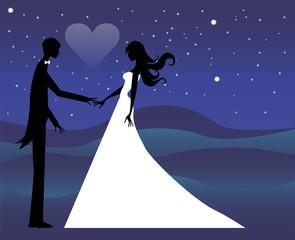 silhouette di sposi sotto un cielo stellato