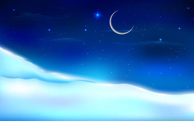 Snowy Night Landscape