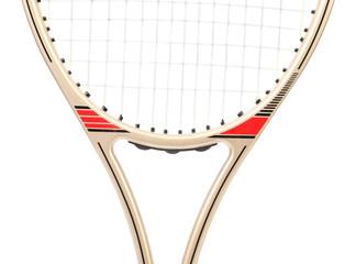 Gray tennis racket. Close up.