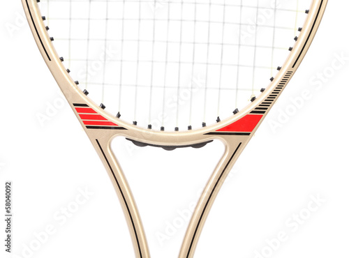Gray tennis racket. Close up.
