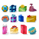Gift Box And Bag Icons Set - Isolated On White Background