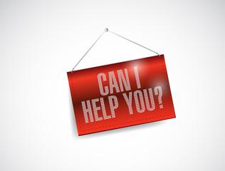 can I help you hanging banner illustration