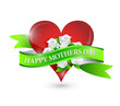 happy mothers day heart and flowers ribbon sign