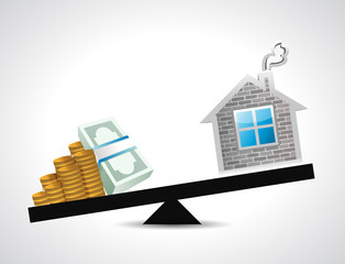money and home balance illustration design