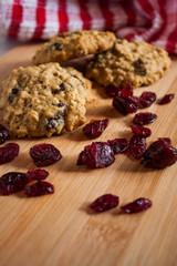 Cranberry Oatmeal Cookies on Wooden Surface.