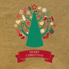 Retro Cardboard Christmas Card