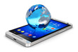 Earth globe on smartphone