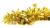 Close up of christmas yellow tinsel with stars